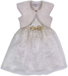 Jona Michelle Girl's Special Occasion Dress Set with Faux Fur Vest (Ivory)